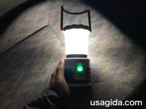 ジェントスのランタンSOL-036Cの緑に光る電源ボタン