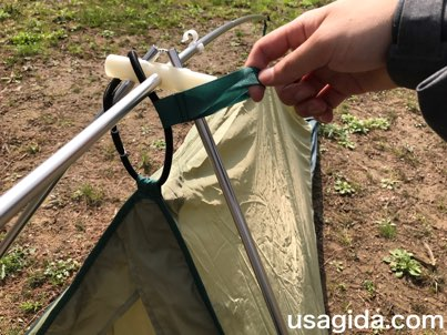 モンベルのテント「ムーンライト1型」のゴムの輪っか