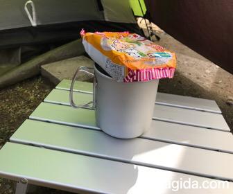 スノーピークのトレック900に袋麺をスタッキング