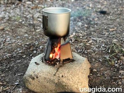 ヘキサゴンウッドストーブで焚き火料理