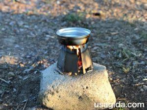 ヘキサゴンウッドストーブと焚き火で湯沸かし