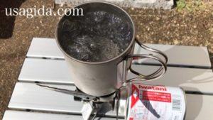 ジュニアコンパクトバーナーで湯沸かし