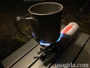 冬にジュニアコンパクトバーナーで湯沸かし