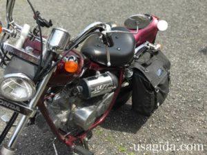 防水サイドバッグを取り付けられたバイク
