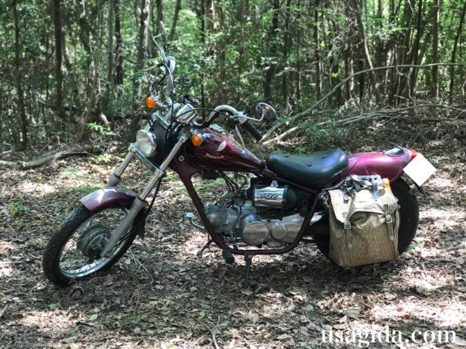 コールマンのツーリングドームSTが入ったバイクのサイドバッグ