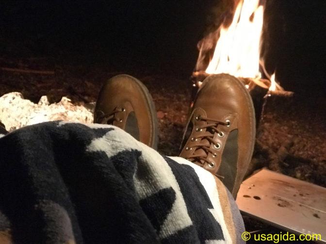 焚き火とペンドルトンのタオルブランケット